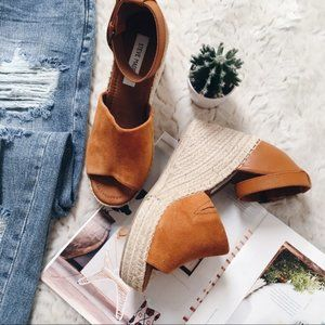 Steve Madden Cognac Wedge Sandals